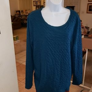 teal long sleeve crinkle tunic